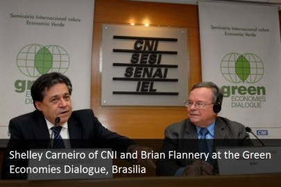 Shelley Carneiro of CNI and Brian Flannery at the Green Economies Dialogue, Brasilia